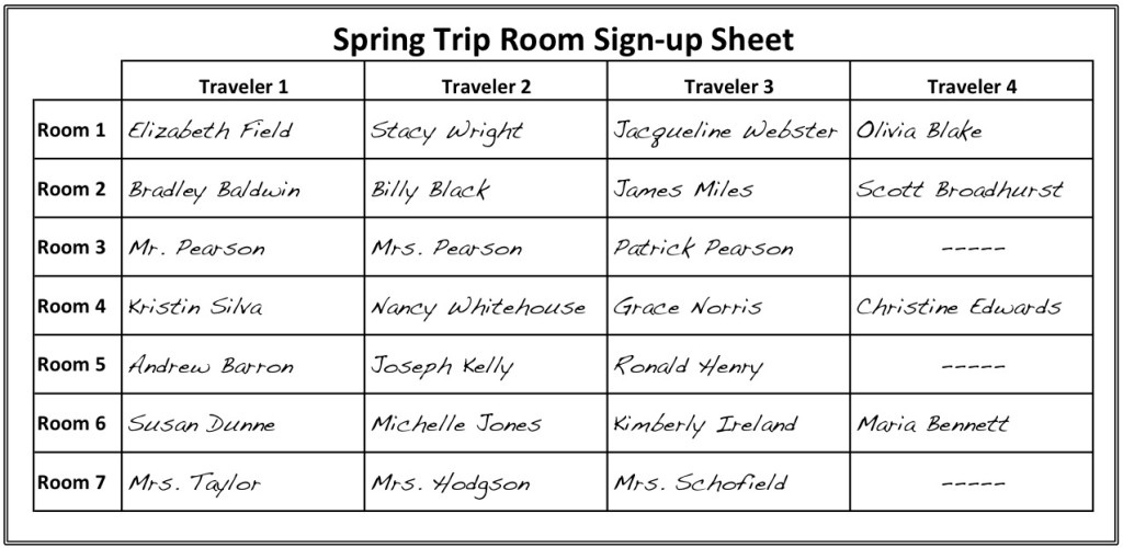 Room Sign-up Sheet